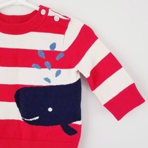 Baby Gap Striped Whale Nautical Sweater 3-6 months
